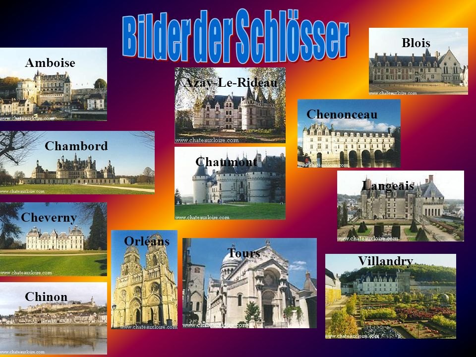 Bilder der Schlösser Blois Amboise Azay-Le-Rideau Chenonceau Chambord