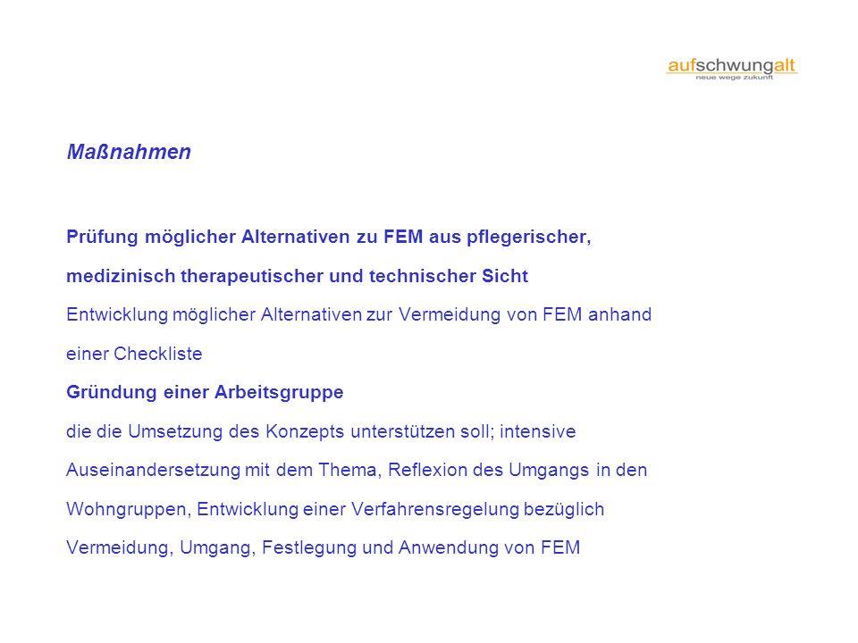 Maßnahmen Prüfung möglicher Alternativen zu FEM aus pflegerischer,