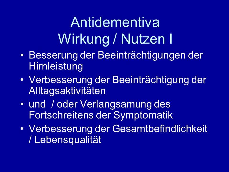 Antidementiva Wirkung / Nutzen I
