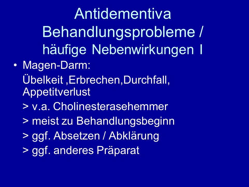 Antidementiva Behandlungsprobleme / häufige Nebenwirkungen I
