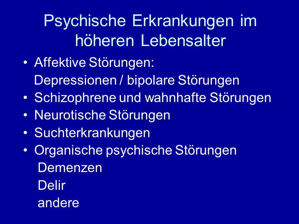 Psychische Erkrankungen im höheren Lebensalter