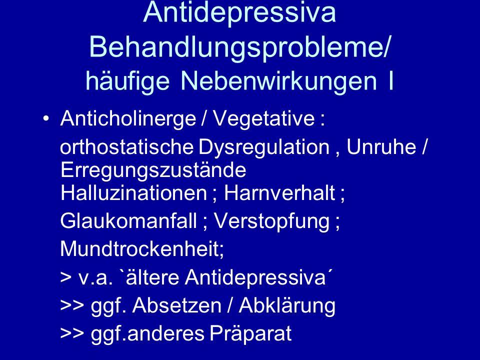 Antidepressiva Behandlungsprobleme/ häufige Nebenwirkungen I