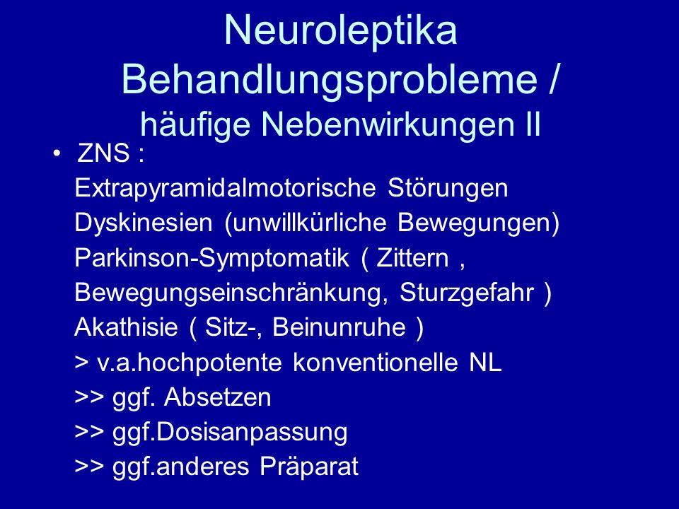 Neuroleptika Behandlungsprobleme / häufige Nebenwirkungen II