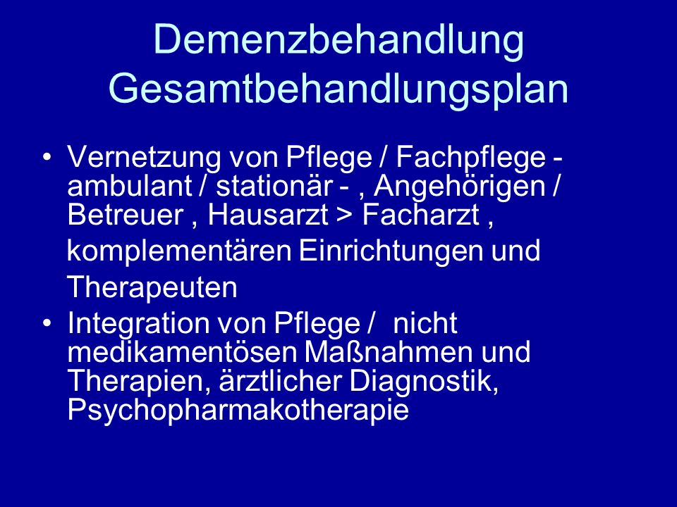 Demenzbehandlung Gesamtbehandlungsplan
