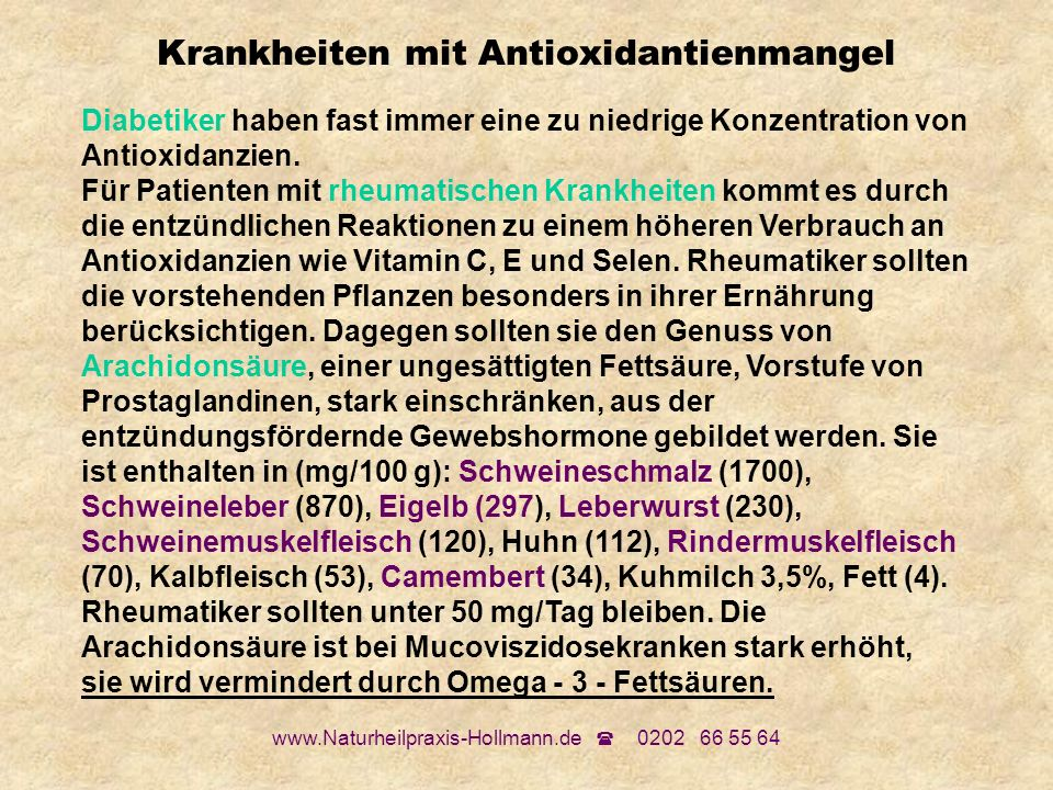 Krankheiten mit Antioxidantienmangel