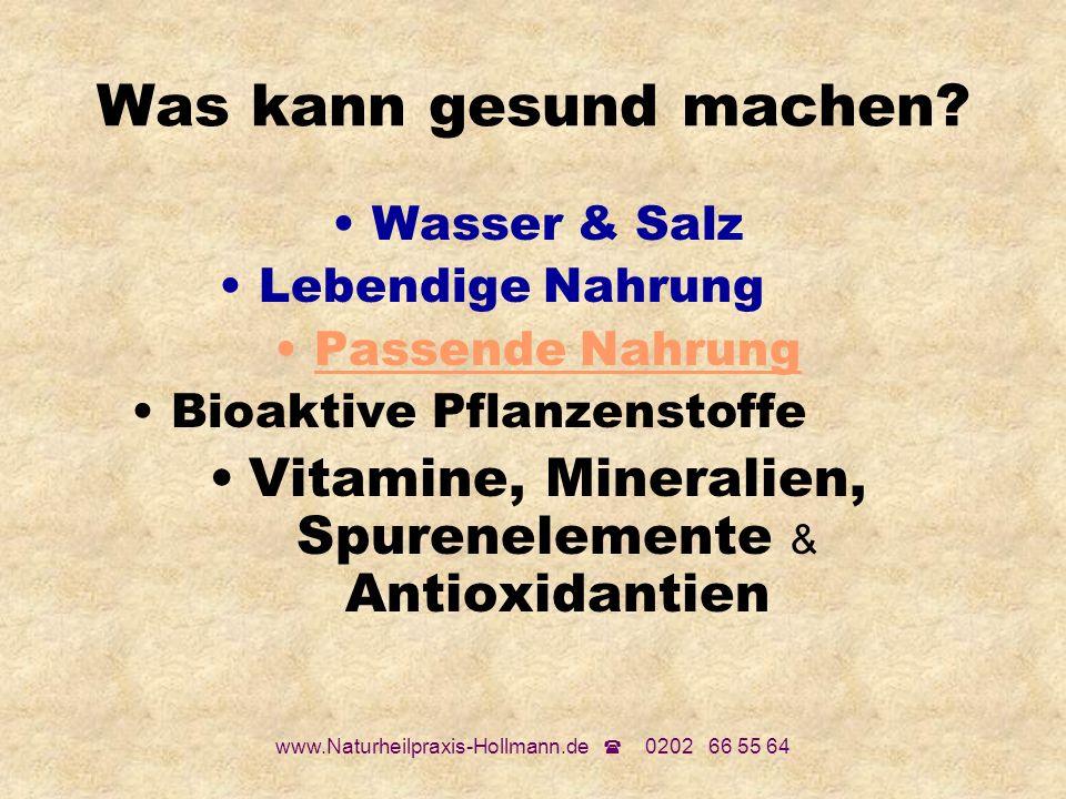Was kann gesund machen Wasser & Salz. Lebendige Nahrung Passende Nahrung. Bioaktive Pflanzenstoffe