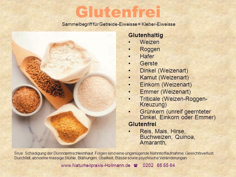 Glutenfrei Sammelbegriff für Getreide-Eiweisse = Kleber-Eiweisse