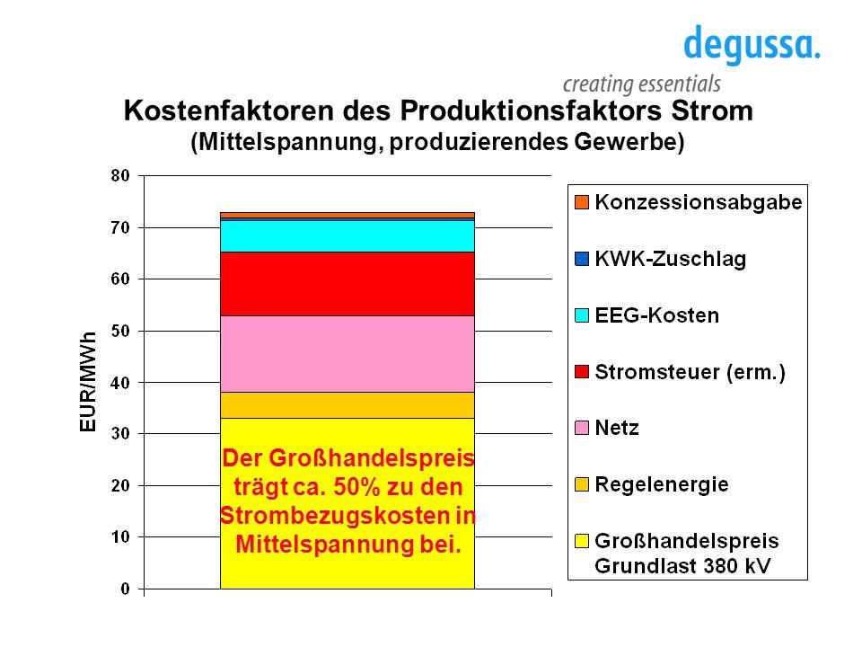 Kostenfaktoren des Produktionsfaktors Strom