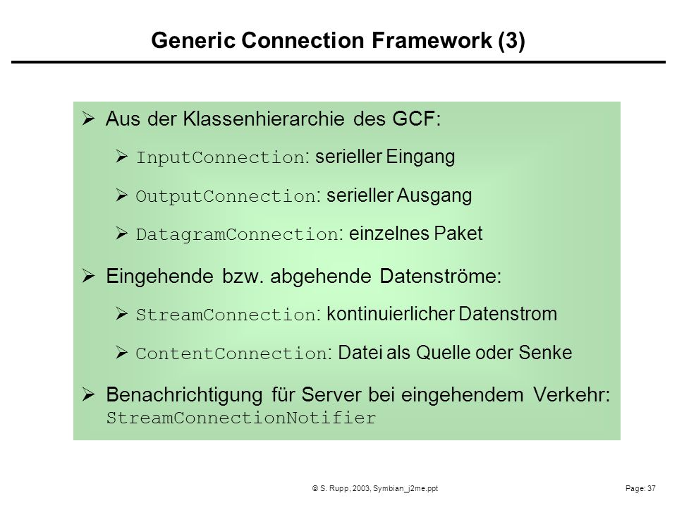 Generic Connection Framework (3)