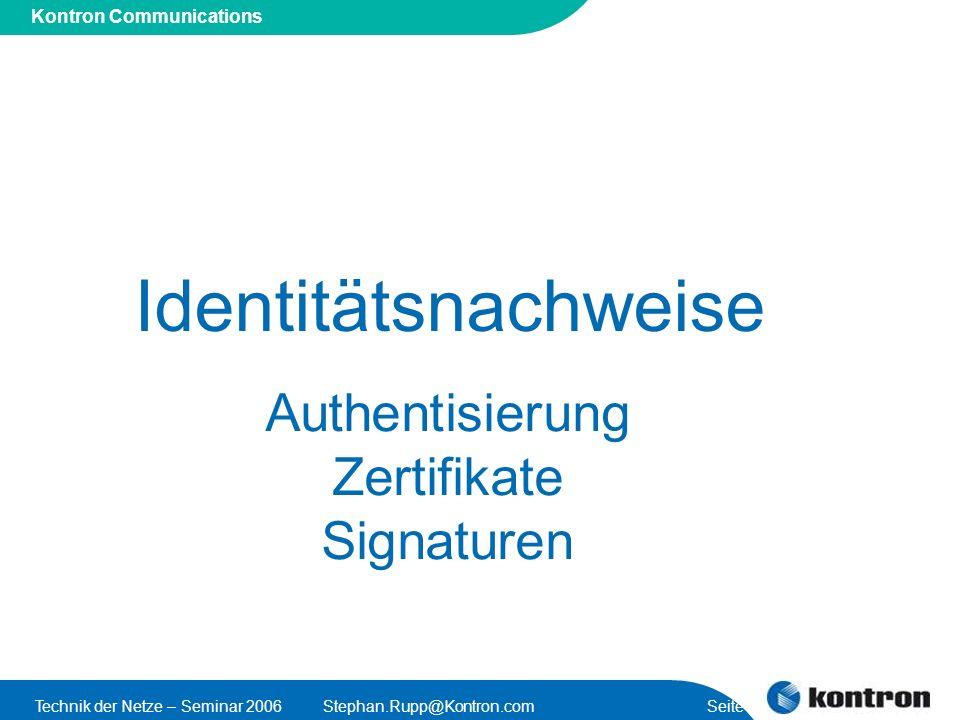 Identitätsnachweise Authentisierung Zertifikate Signaturen
