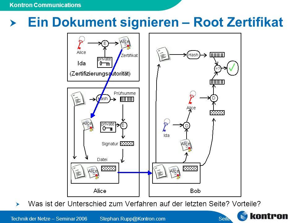 Ein Dokument signieren – Root Zertifikat