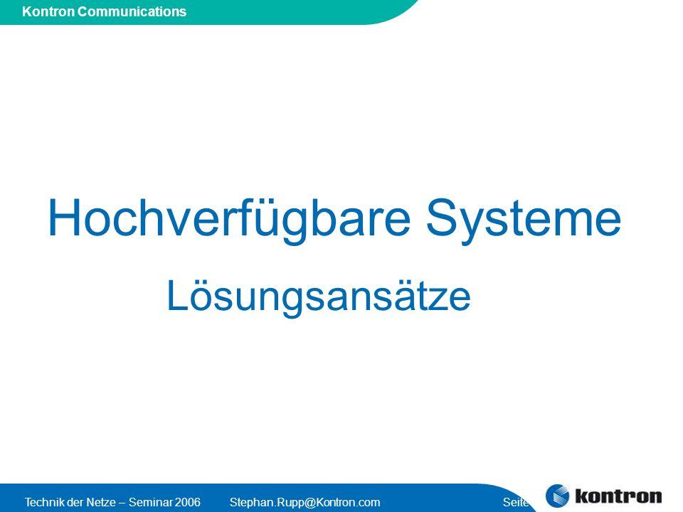 Hochverfügbare Systeme