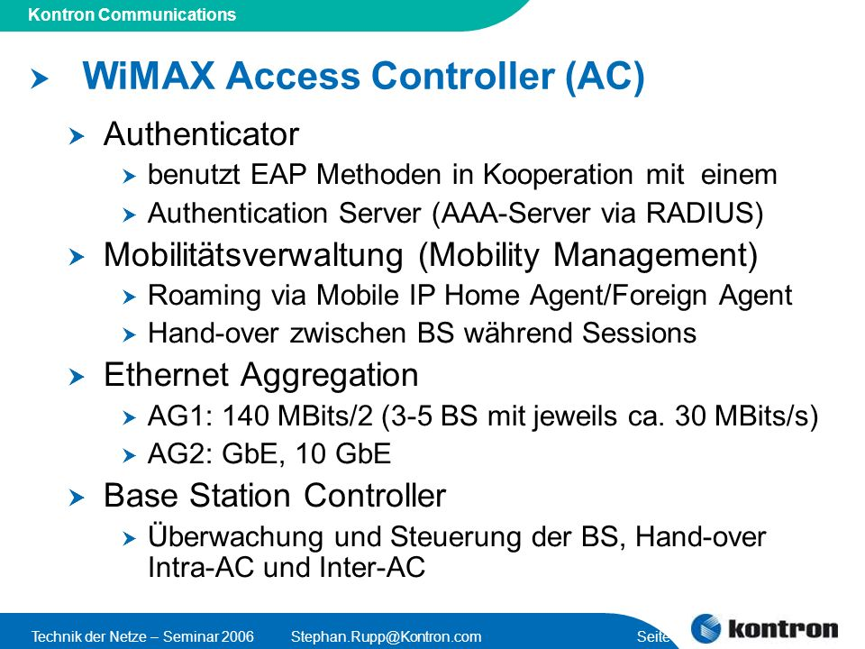 WiMAX Access Controller (AC)