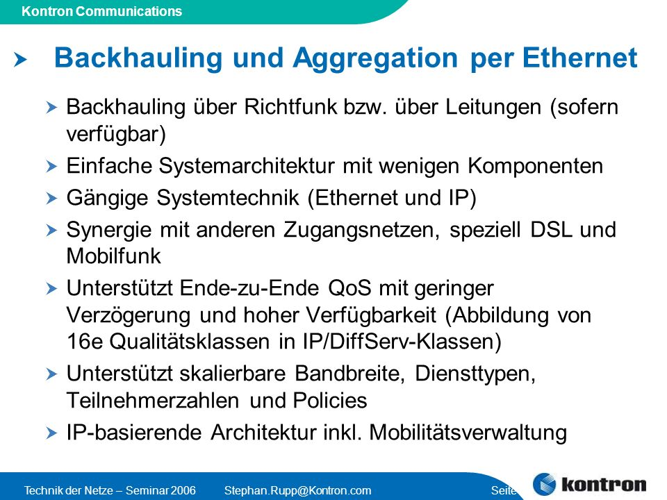 Backhauling und Aggregation per Ethernet
