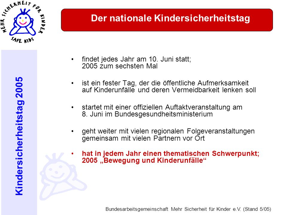 Der nationale Kindersicherheitstag