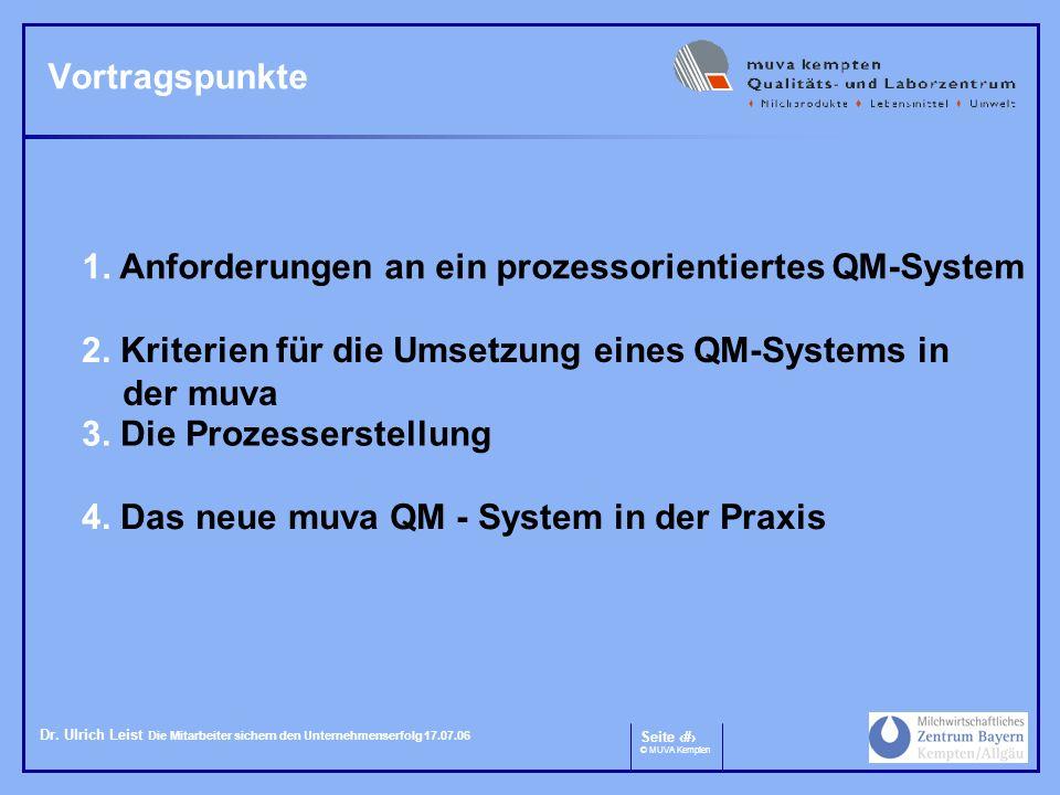 Vortragspunkte 1. Anforderungen an ein prozessorientiertes QM-System. 2. Kriterien für die Umsetzung eines QM-Systems in der muva.