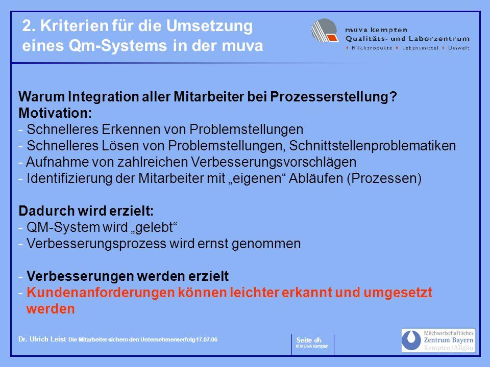 2. Kriterien für die Umsetzung eines Qm-Systems in der muva