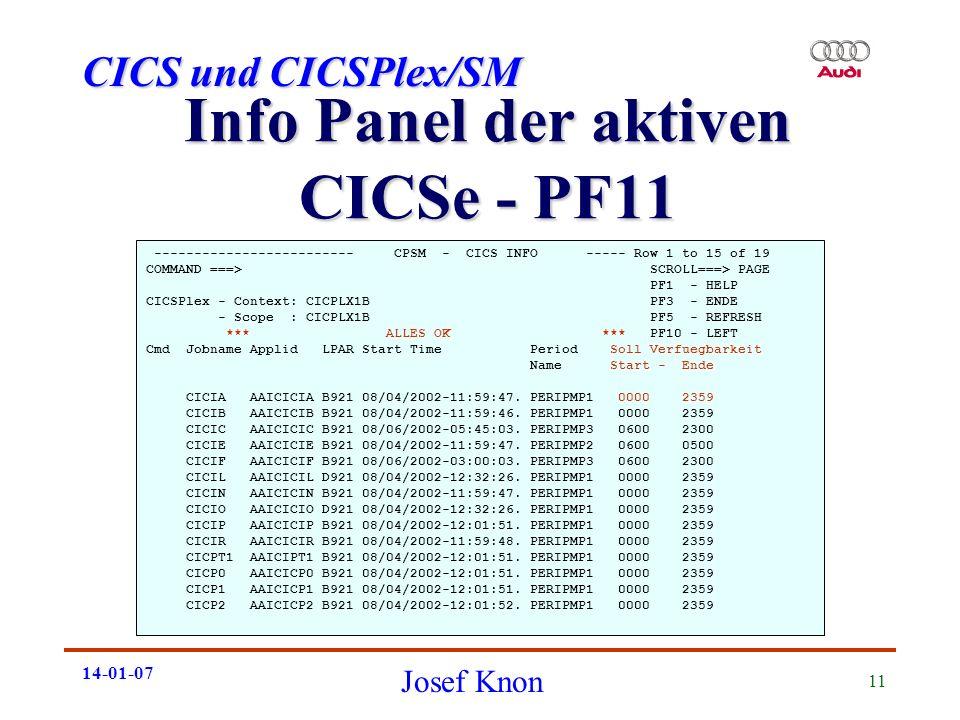 Info Panel der aktiven CICSe - PF11