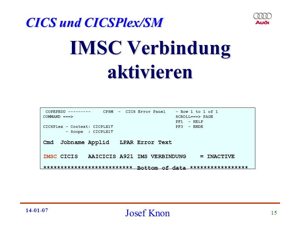 IMSC Verbindung aktivieren