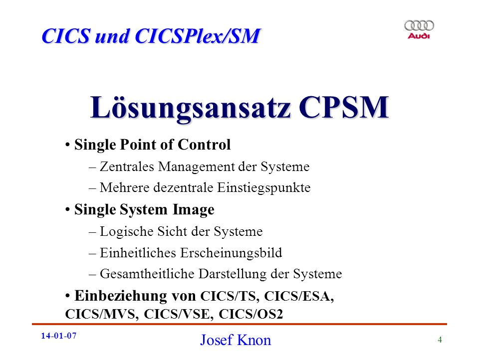 Lösungsansatz CPSM Single Point of Control Single System Image