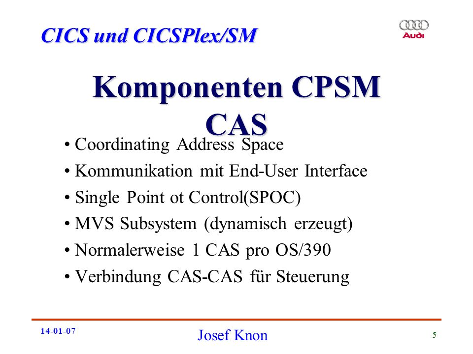 Komponenten CPSM CAS Coordinating Address Space
