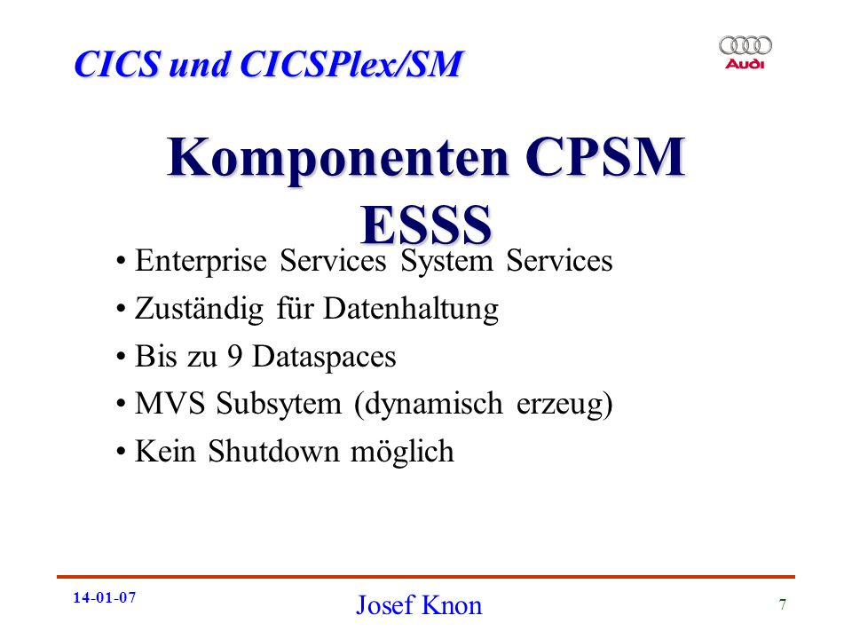 Komponenten CPSM ESSS Enterprise Services System Services