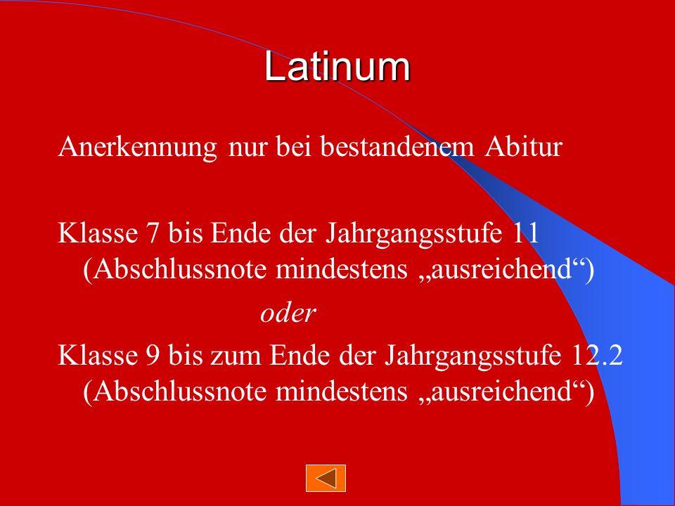 Latinum Anerkennung nur bei bestandenem Abitur