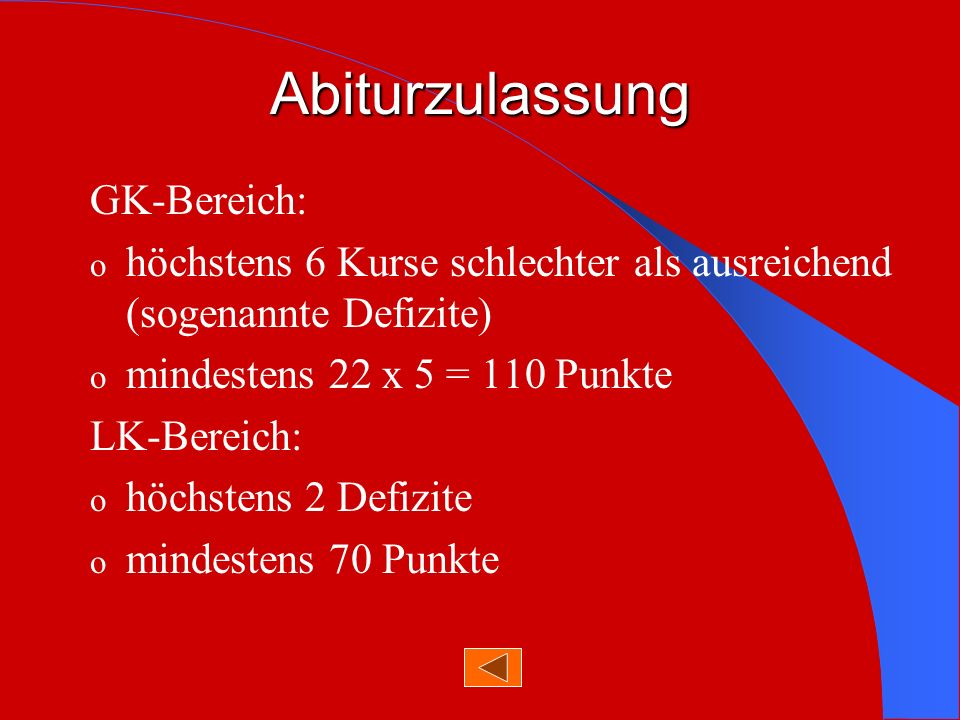 Abiturzulassung GK-Bereich: