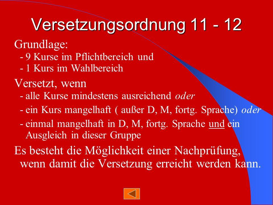 Versetzungsordnung 11 - 12 Grundlage: - 9 Kurse im Pflichtbereich und - 1 Kurs im Wahlbereich.