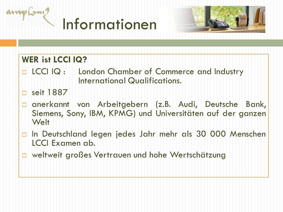 Informationen WER ist LCCI IQ