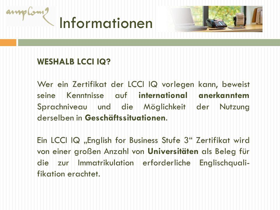 Informationen WESHALB LCCI IQ