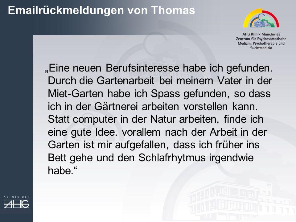 Emailrückmeldungen von Thomas