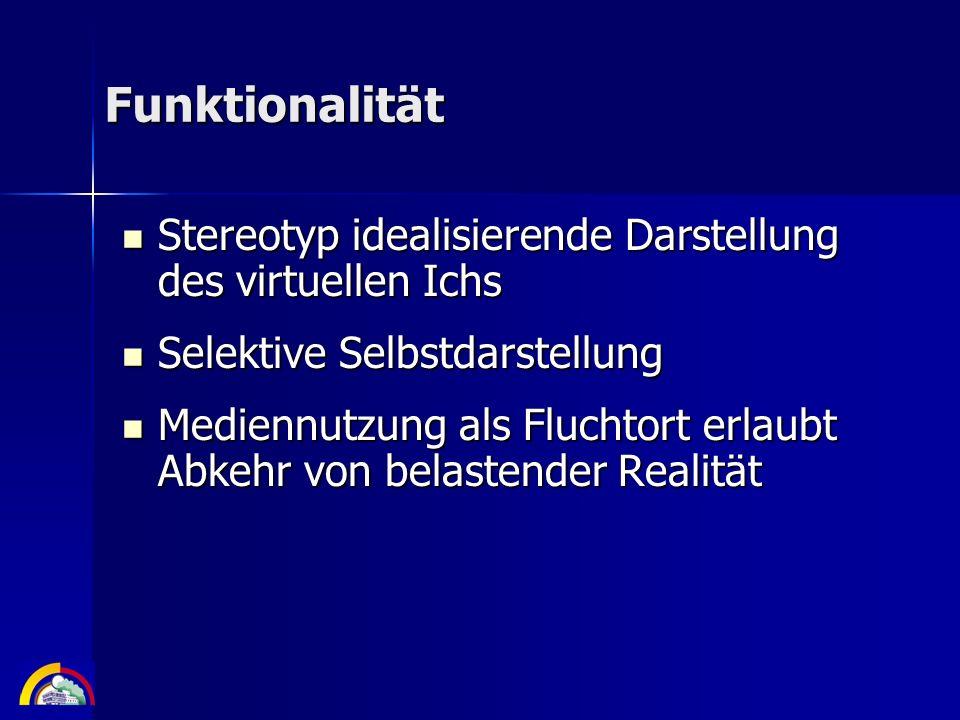 Funktionalität Stereotyp idealisierende Darstellung des virtuellen Ichs. Selektive Selbstdarstellung.