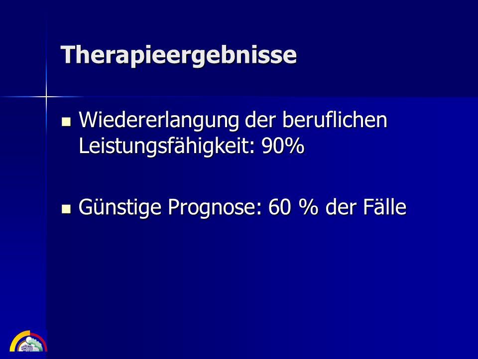 TherapieergebnisseWiedererlangung der beruflichen Leistungsfähigkeit: 90% Günstige Prognose: 60 % der Fälle.
