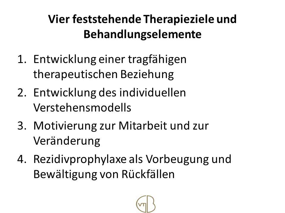 Vier feststehende Therapieziele und Behandlungselemente