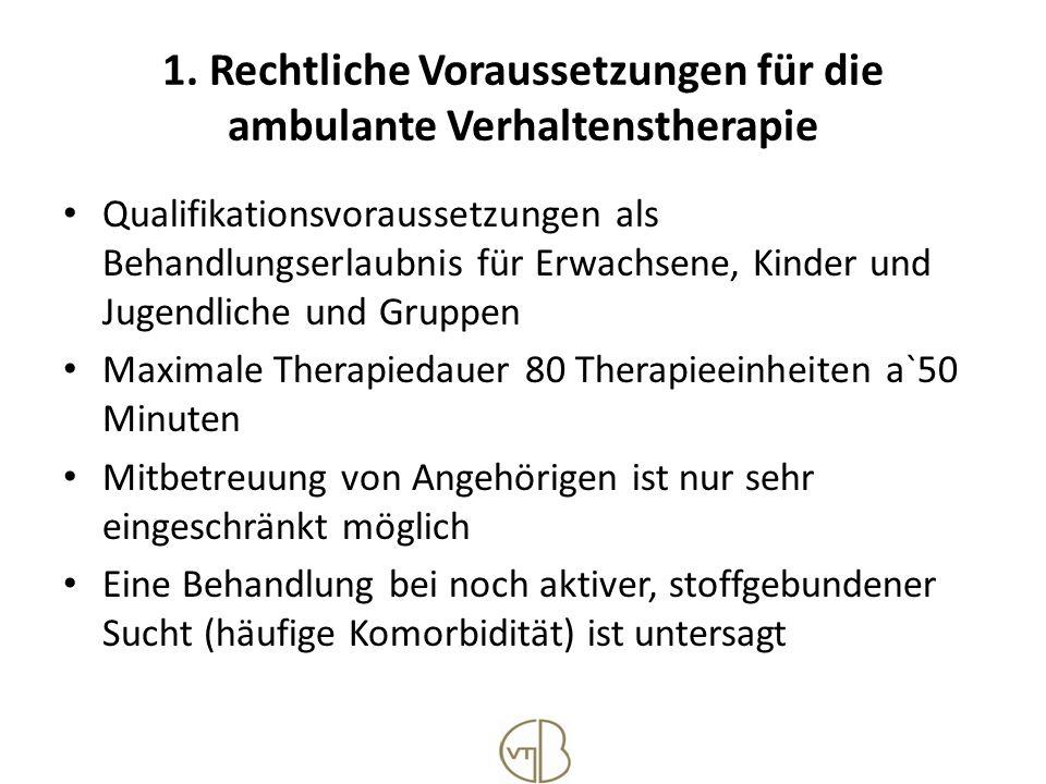 1. Rechtliche Voraussetzungen für die ambulante Verhaltenstherapie