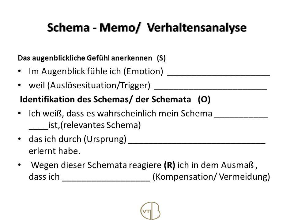 Schema - Memo / Verhaltensanalyse