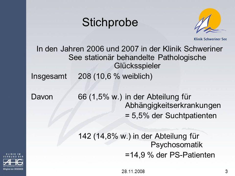 Stichprobe In den Jahren 2006 und 2007 in der Klinik Schweriner See stationär behandelte Pathologische Glücksspieler.