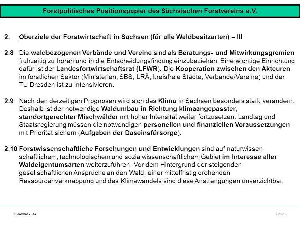 Forstpolitisches Positionspapier des Sächsischen Forstvereins e.V.