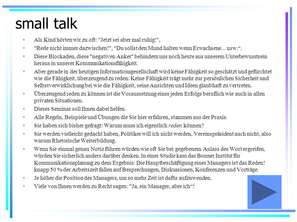 small talk rhetorik seminar ppt video online herunterladen. Black Bedroom Furniture Sets. Home Design Ideas