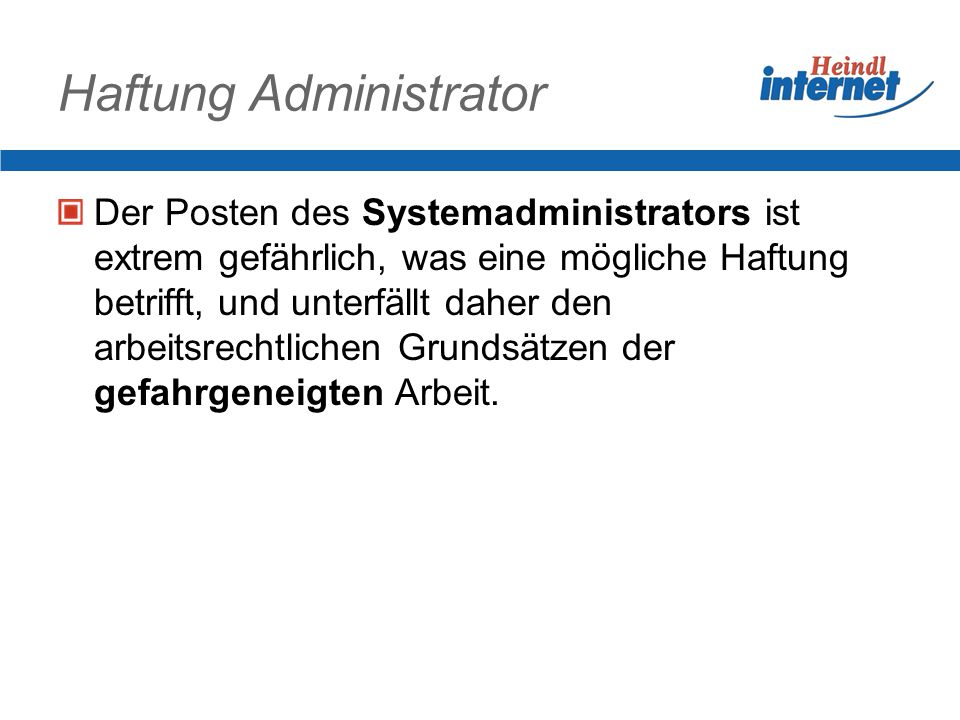 Haftung Administrator