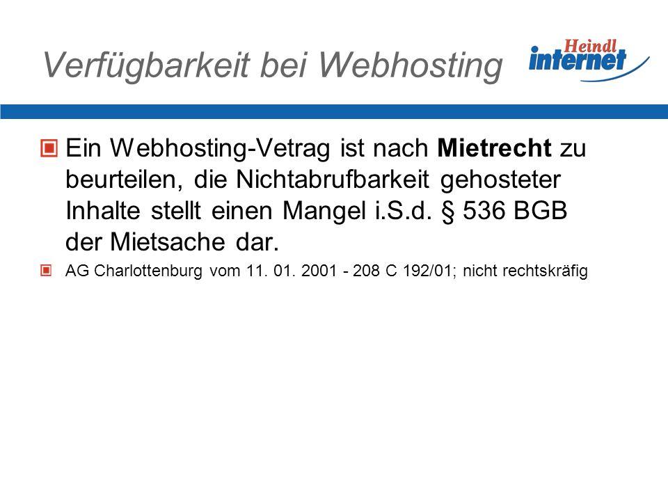 Verfügbarkeit bei Webhosting