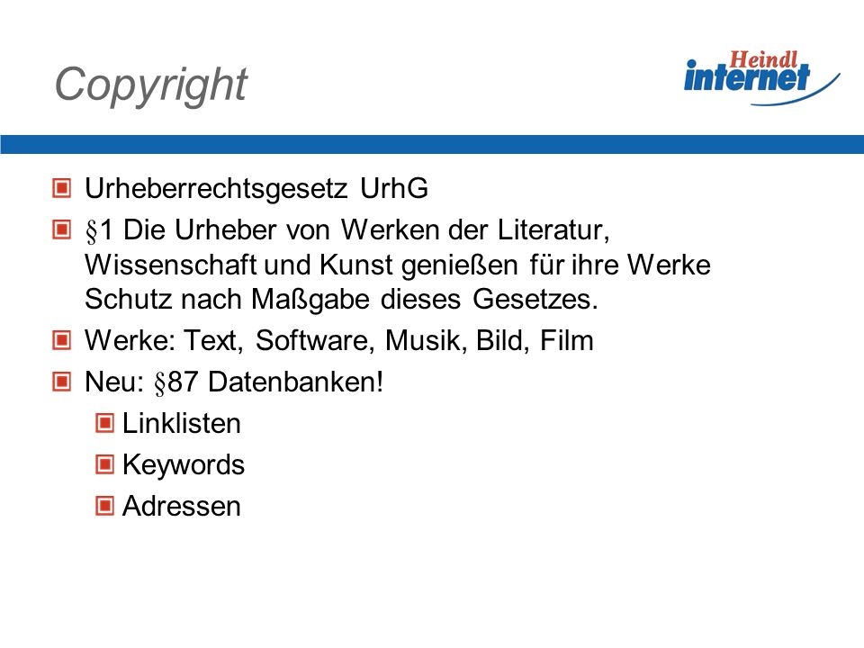 Copyright Urheberrechtsgesetz UrhG