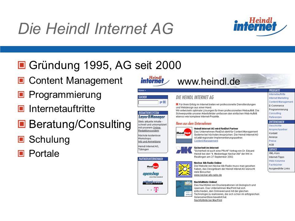 Die Heindl Internet AG Gründung 1995, AG seit 2000 Beratung/Consulting