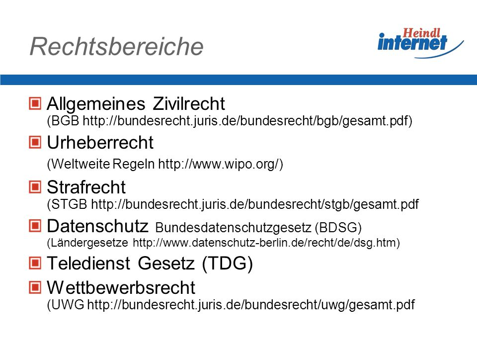 Rechtsbereiche Allgemeines Zivilrecht (BGB http://bundesrecht.juris.de/bundesrecht/bgb/gesamt.pdf)
