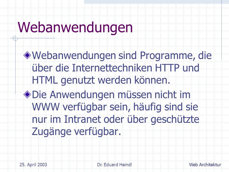 Webanwendungen Webanwendungen sind Programme, die über die Internettechniken HTTP und HTML genutzt werden können.