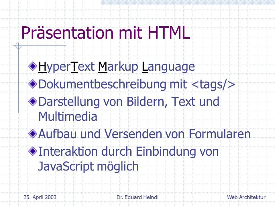 Präsentation mit HTML HyperText Markup Language