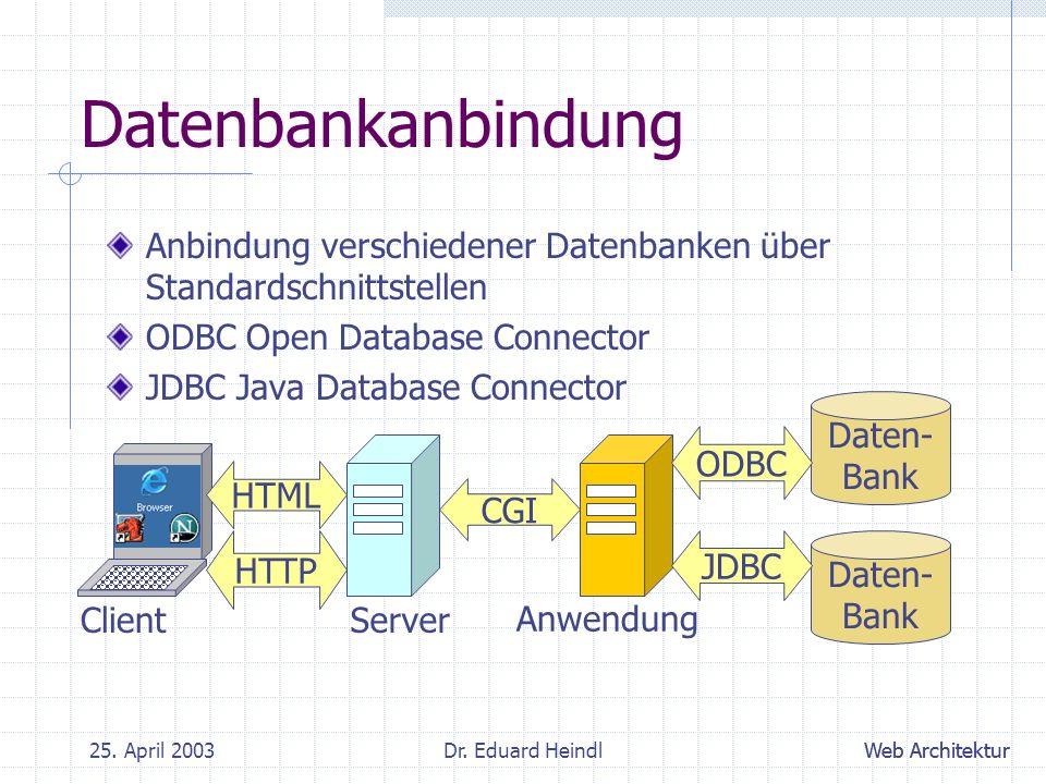 Datenbankanbindung Anbindung verschiedener Datenbanken über Standardschnittstellen. ODBC Open Database Connector.