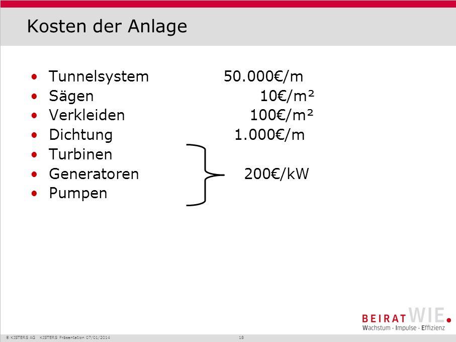 Kosten der Anlage Tunnelsystem 50.000€/m Sägen 10€/m²
