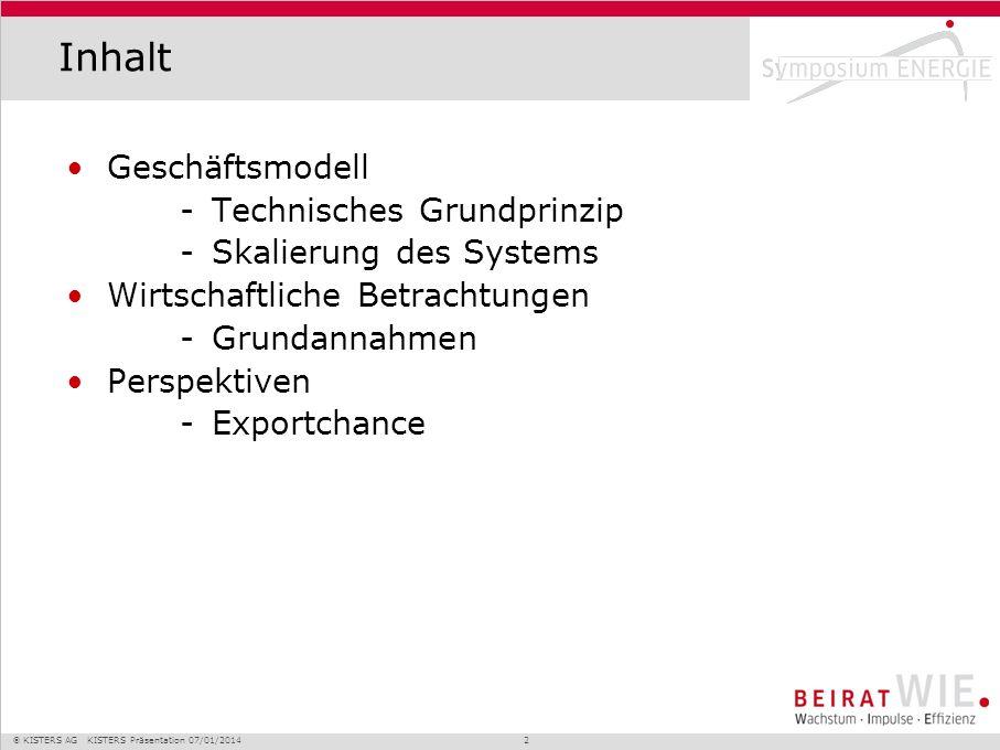 Inhalt Geschäftsmodell Technisches Grundprinzip Skalierung des Systems